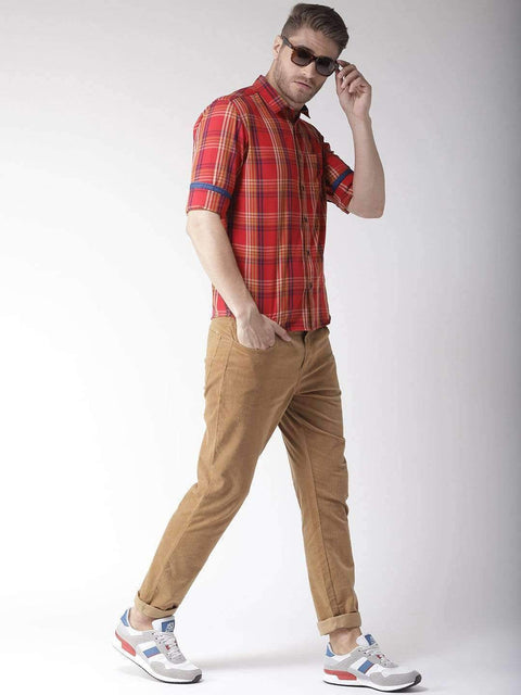 Red Slim Fit Casual Shirt Full view