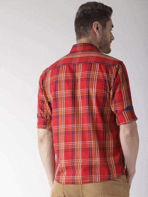 Red Slim Fit Casual Shirt back view