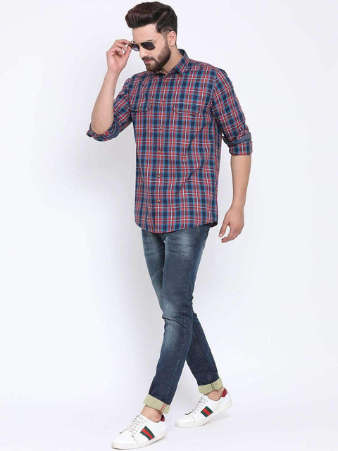 Richlook Casual Shirt Richlook Red & Tapesty Blue Casual Slim Fit Shirt