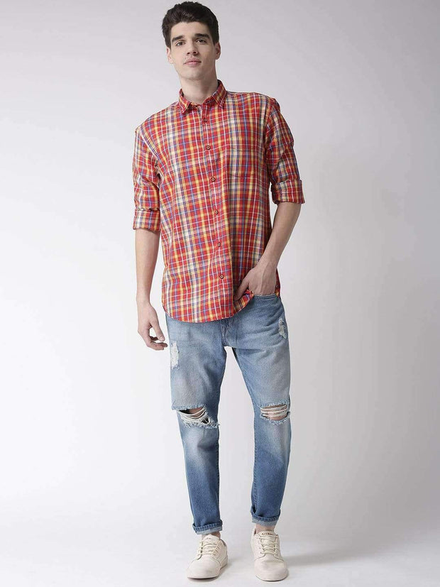 Richlook Casual Shirt Richlook Red & Yellow Slim Fit Casual Shirt