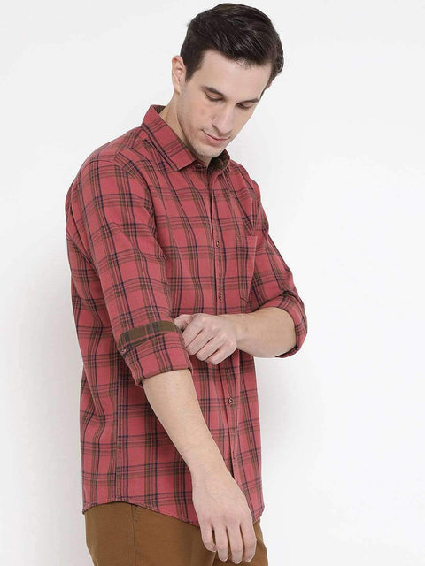 Rust Blue Casual Shirt side view