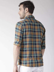 Tapestry Blue & Mustard Slim Casual Shirt back view