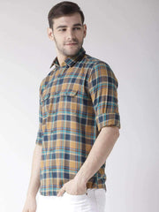 Tapestry Blue & Mustard Slim Casual Shirt side view