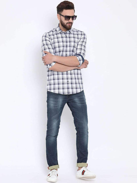 White & Blue Casual Slim Fit Shirt for Men