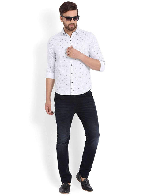 Richlook Casual Shirt Richlook White/Blue Printed Casual Shirt