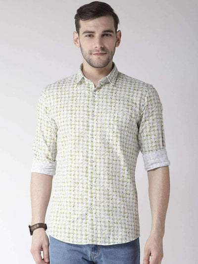 Richlook Casual Shirt Richlook White & Green Slim Fit Casual Shirt