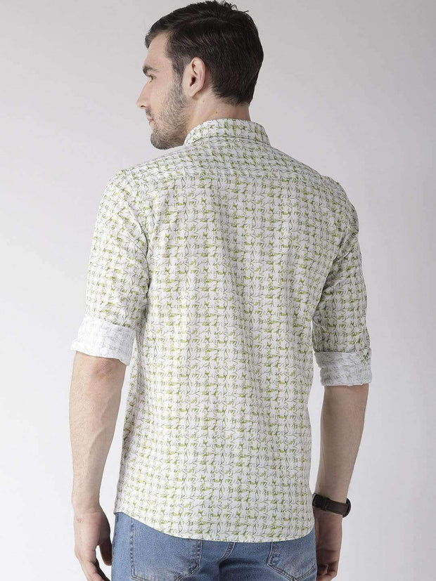 White & Green Casual Shirt back view