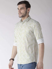 White & Green Casual Shirt side view