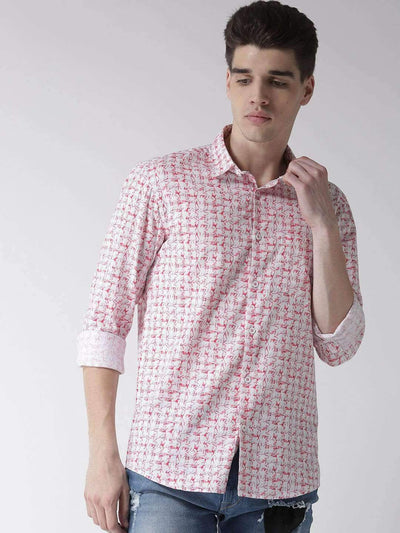 White & Red Slim Fit Casual Shirt