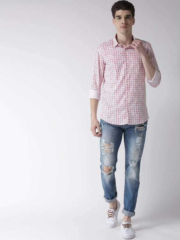 White & Red Slim Fit Casual Shirt full view