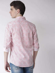 White & Red Slim Fit Casual Shirt back view