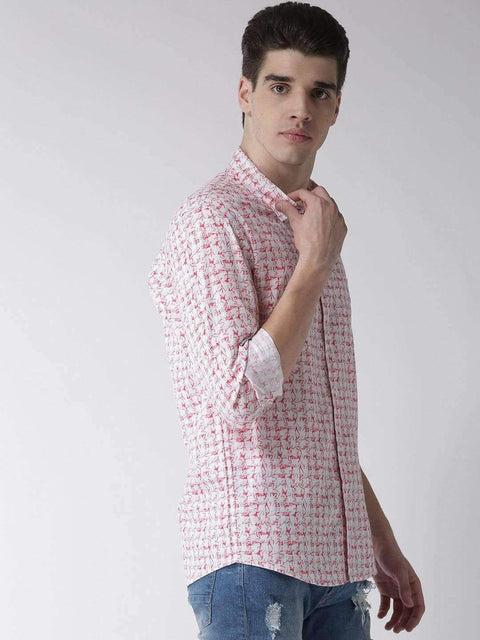 White & Red Slim Fit Casual Shirt side view