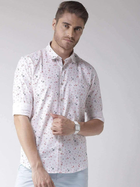 Richlook Casual Shirt Richlook White & Red Slim Fit Casual Shirt