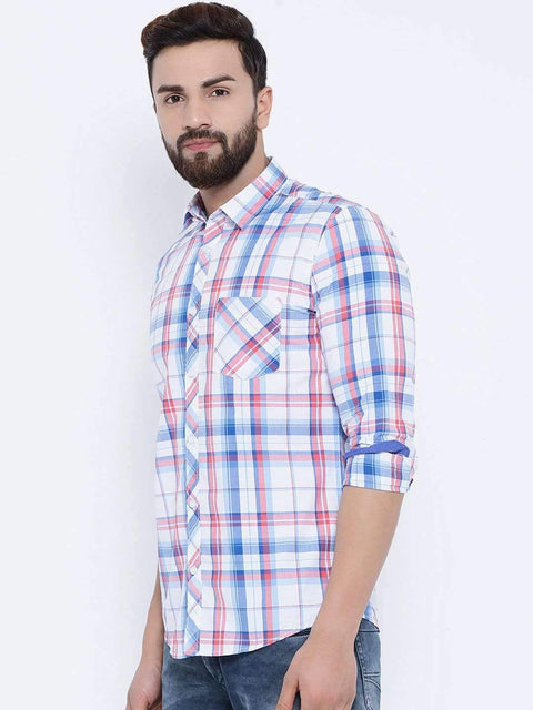 Richlook Casual Shirt Richlook White & Rust Casual Slim Fit Shirt