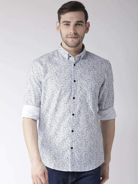 Richlook Casual Shirt Richlook White & Sky Slim Fit Casual Shirt