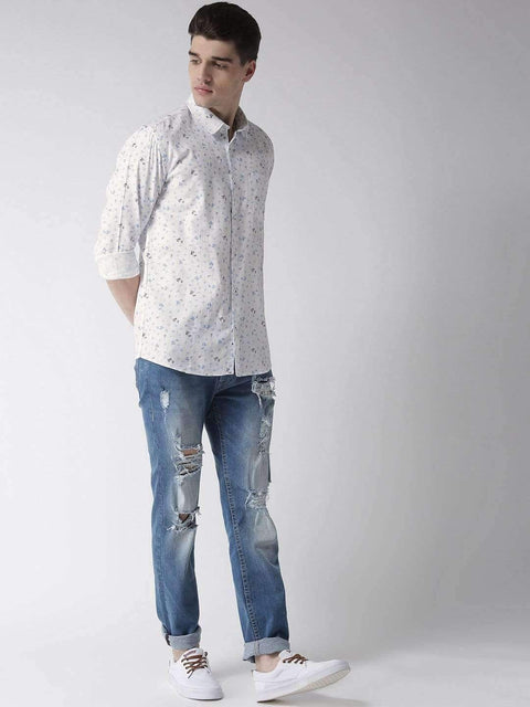 White & Sky Slim Fit Casual Shirt full view