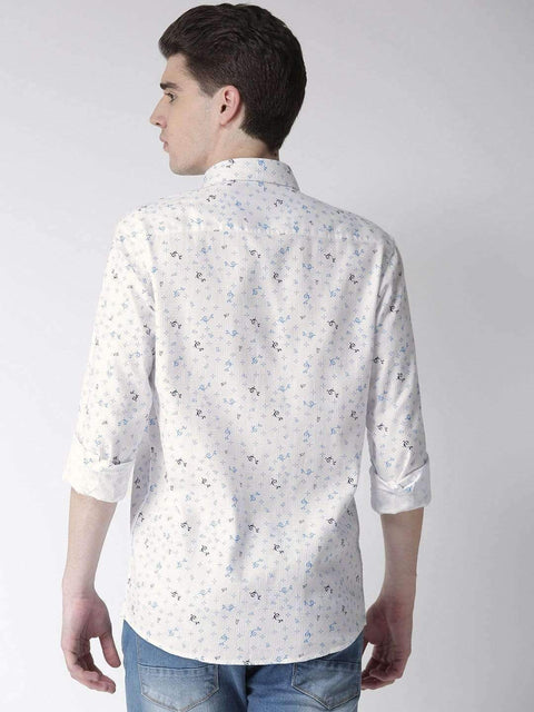 White & Sky Slim Fit Casual Shirt back view