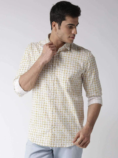 White & Yellow Slim Fit Casual Shirt