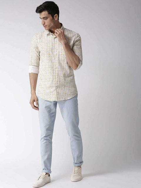 White & Yellow Slim Fit Casual Shirt for Men