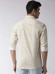 White & Yellow Slim Fit Casual Shirt back view