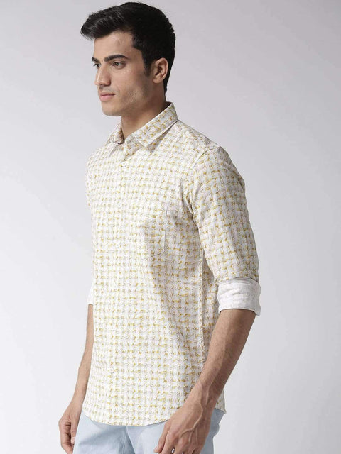 White & Yellow Slim Fit Casual Shirt side view