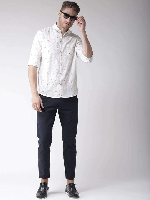 White & Yellow Slim Fit Casual Shirt full view