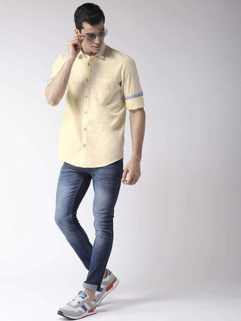 Yellow Slim Fit Casual Shirt full view