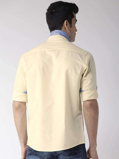 Yellow Slim Fit Casual Shirt Back view
