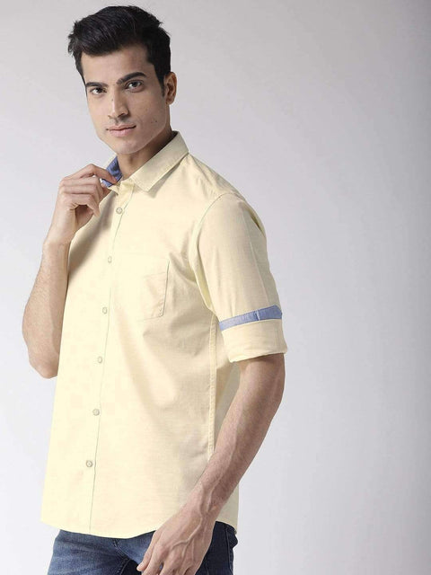 Yellow Slim Fit Casual Shirt side view