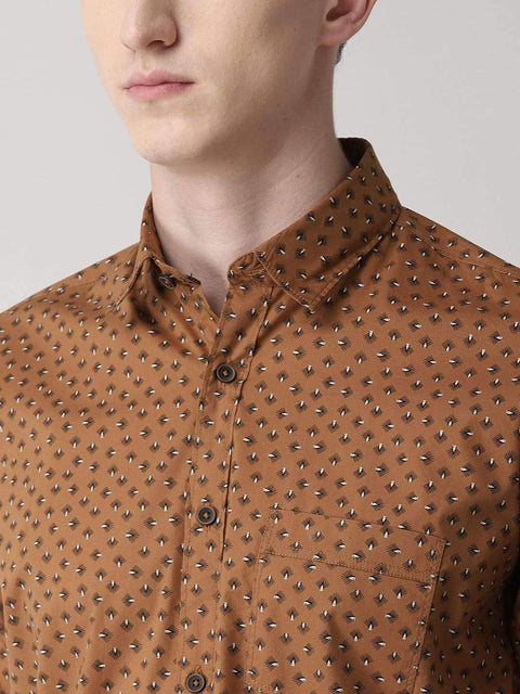 Richlook Casual Shirt Turmeric Slim Fit Printed Casual Shirt