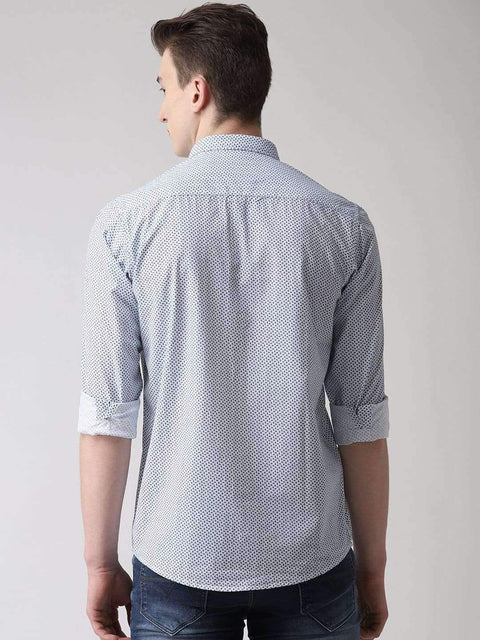 White & Blue Casual Shirt Back view