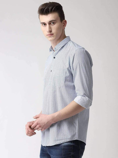 White & Blue Casual Shirt Side View