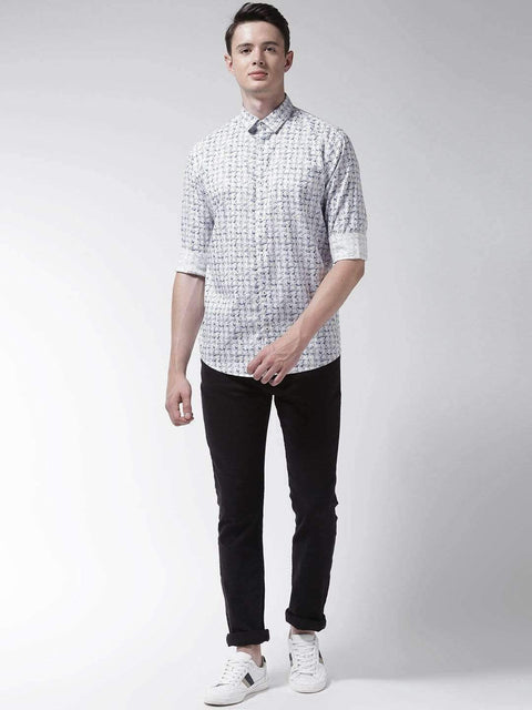 White & Grey Slim Fit Casual Shirt full view