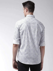 White & Grey Slim Fit Casual Shirt back view