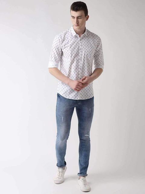 White & Grey Casual Shirt full view