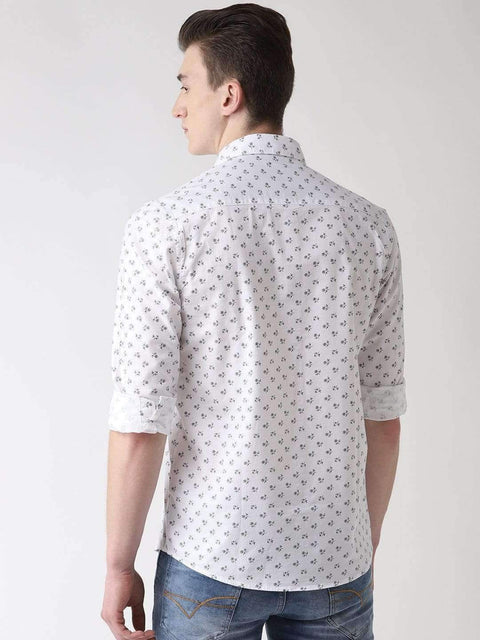 White & Grey Casual Shirt back view