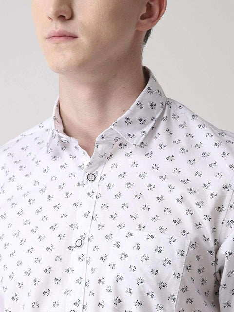 White & Grey Casual Shirt close view