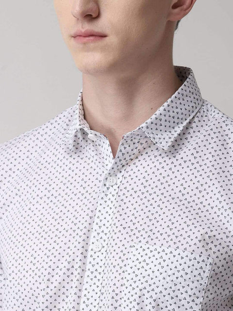 Richlook Casual Shirt White Printed Slim Fit Casual Shirt
