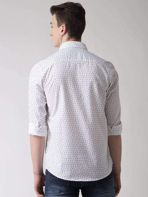 White Casual Shirt Back view