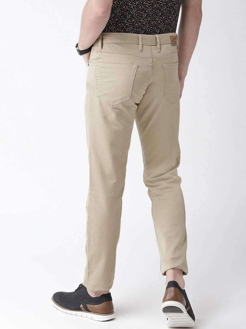 Beige Casual Slim Fit Trouser back view