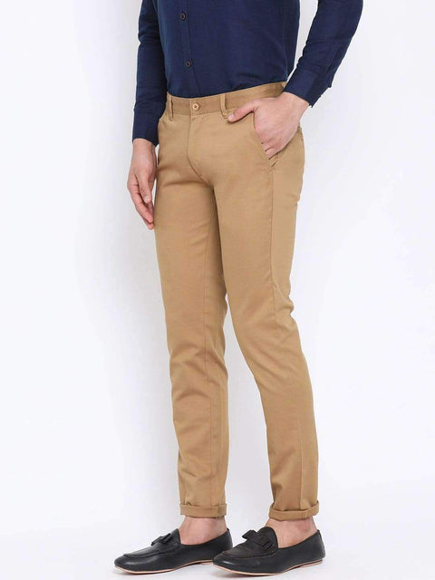 Beige Casual Slim Fit Trouser side view