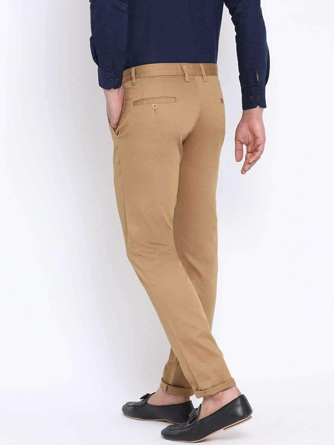 Beige Casual Slim Fit Trouser side full