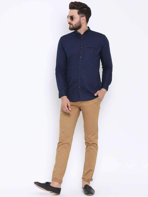 Beige Casual Slim Fit Trouser full view