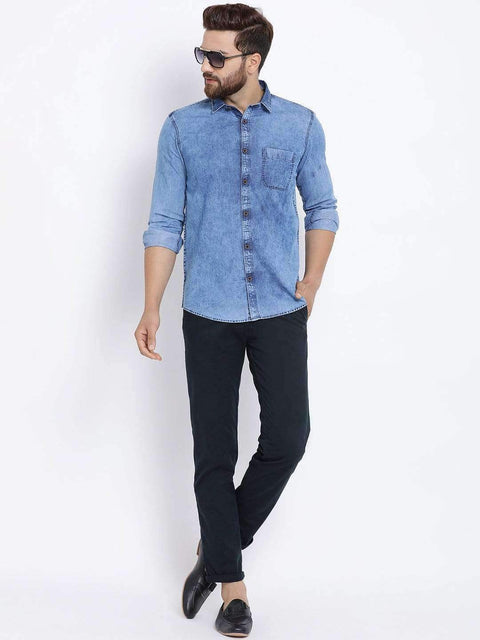 Blue Slim Fit Trouser full view