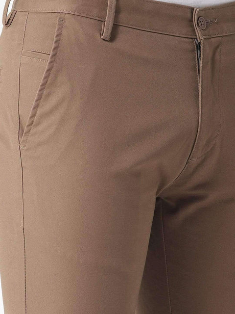 Coffee Casual Slim Fit Trouser close view