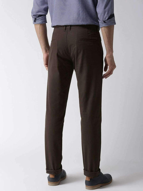 Olive Casual Slim Fit Trouser back view