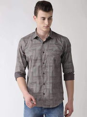 Grey Slim Fit Printed Club Wear Shirt