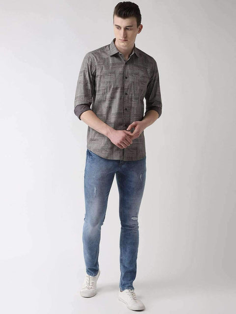 Grey Slim Fit Printed Club Wear Shirt full view