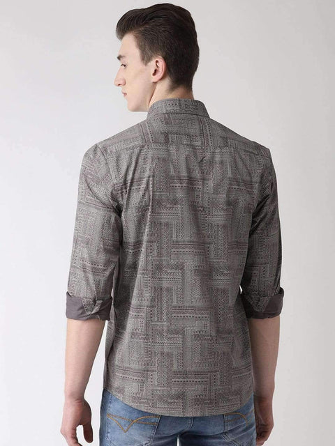 Grey Slim Fit Printed Club Wear Shirt back view