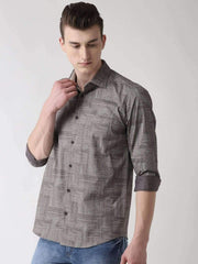 Grey Slim Fit Printed Club Wear Shirt side view